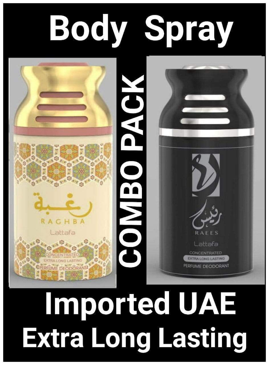 (COMBO) Raees+Raghba Arabic Body Spray Big size 2 pcs. combo Imported Orignal Made in UAE