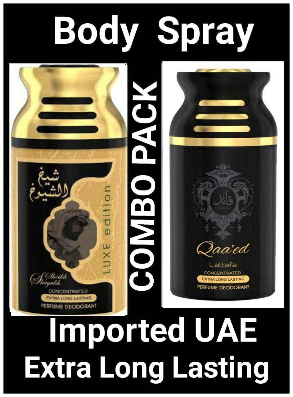 (COMBO) Saiukh ul Shaikh Gold +Qaeed  Arabic Body Spray Big size 2 pcs. combo Imported Orignal Made in UAE
