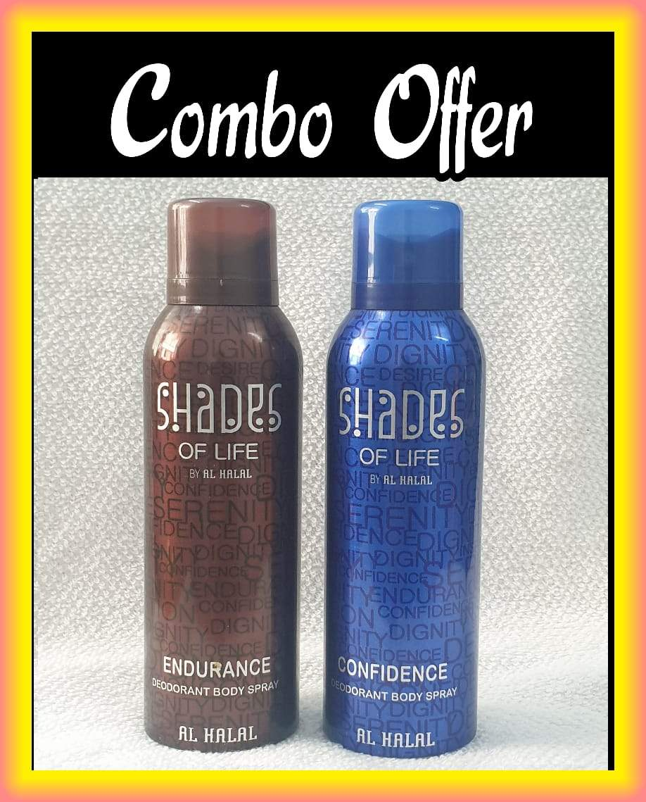 (COMBO) SHADES OF LIFE  Endurance & Confidence  Arabic Al Halal  Body Spray  2 pcs. combo Imported Orignal Mede in UAE