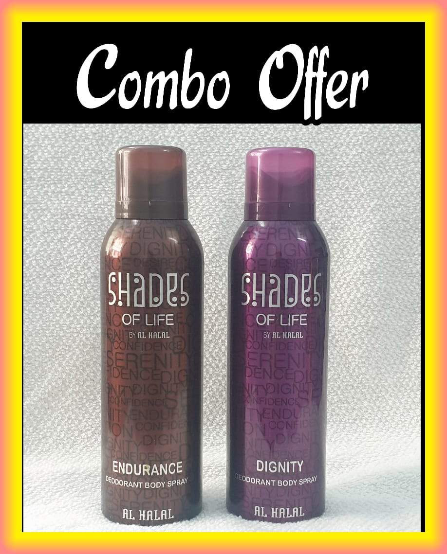 (COMBO) SHADES OF LIFE  Endurance & Dignity  Arabic Al Halal  Body Spray  2 pcs. combo Imported Orignal Mede in UAE
