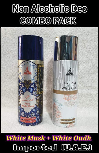 WHITE MUSK +WHITE OUDH  Body Spray  2 pcs. combo HAMIDI BRAND Imported Orignal Made in UAE