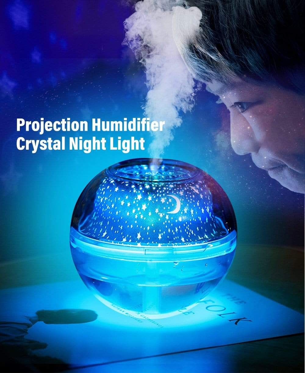 CRYSTAL LED NIGHT LIGHT PROJECTION HUMIDIFIER ,DIFFUSER AIR FRESHNER  With  Free Essential Oil Worth Rs. 599