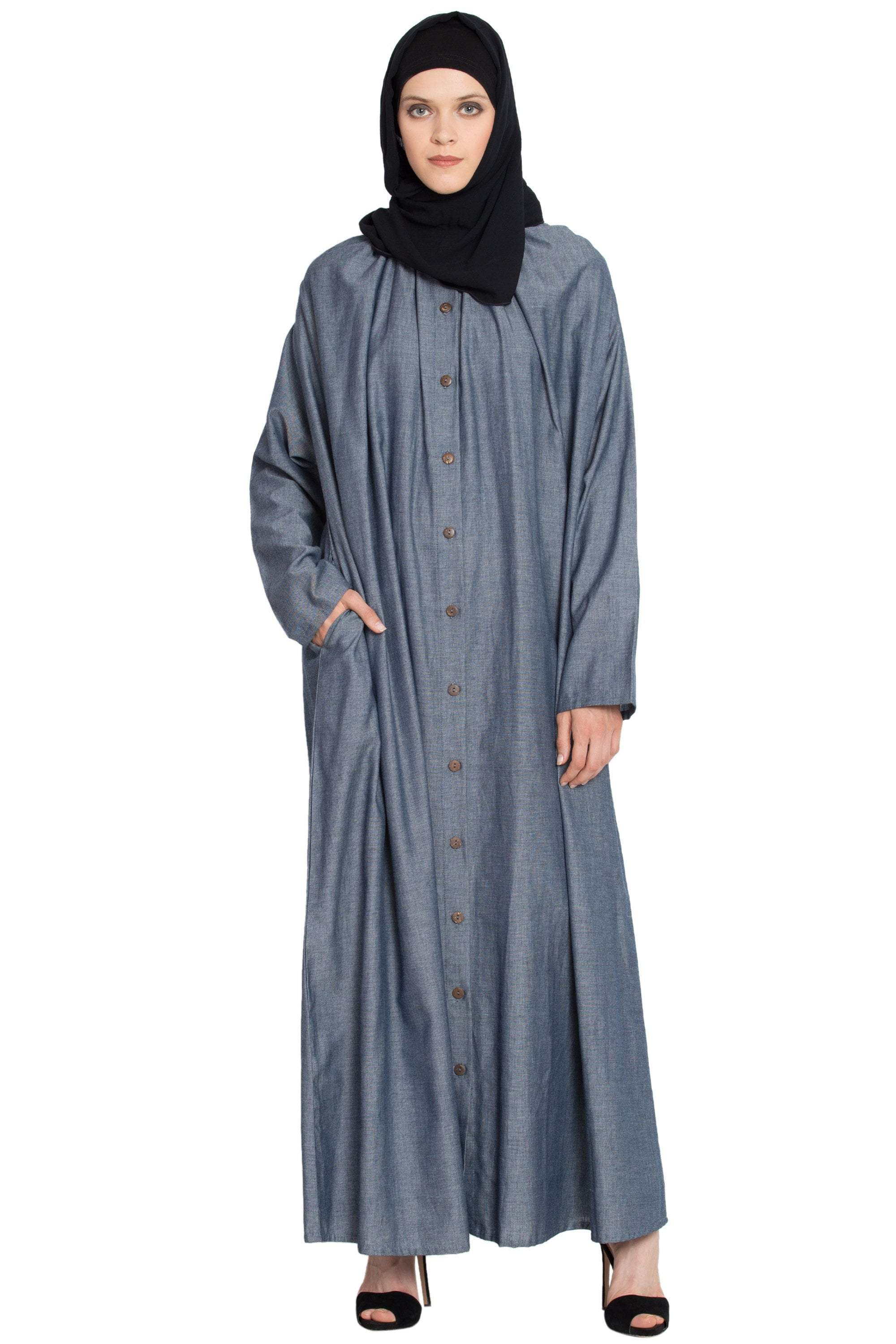 Front open gather around neck Cotton Bohemian Abaya