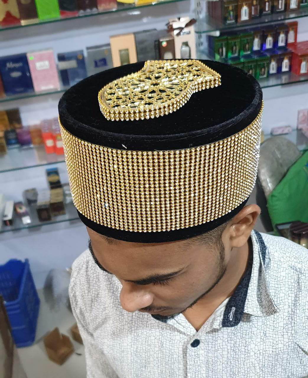 Golden Dimond Islamic Cap With New Golden Nalain paak High Selling Trending On Adilqadri #AQCAP