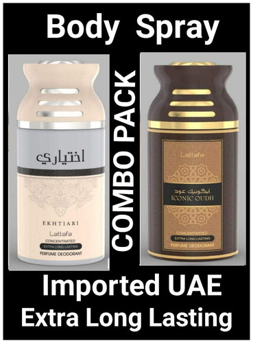 Iconic Oud+Ekhtiari Arabic Body Spray Big size 2 pcs. combo Imported Orignal Made in UAE