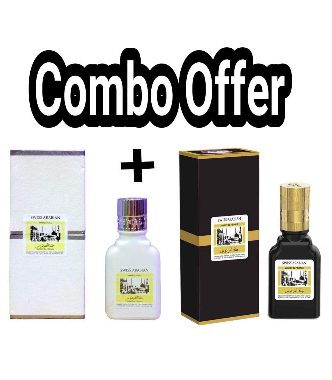 (COMBO) Jannatul Firdaus Black White, Limited Edition Attar Original Swiss Arabian combo