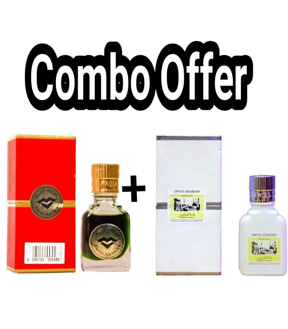 (COMBO) Jannatul Firdaus Red & White  , Limited Edition Attar Original Swiss Arabian combo