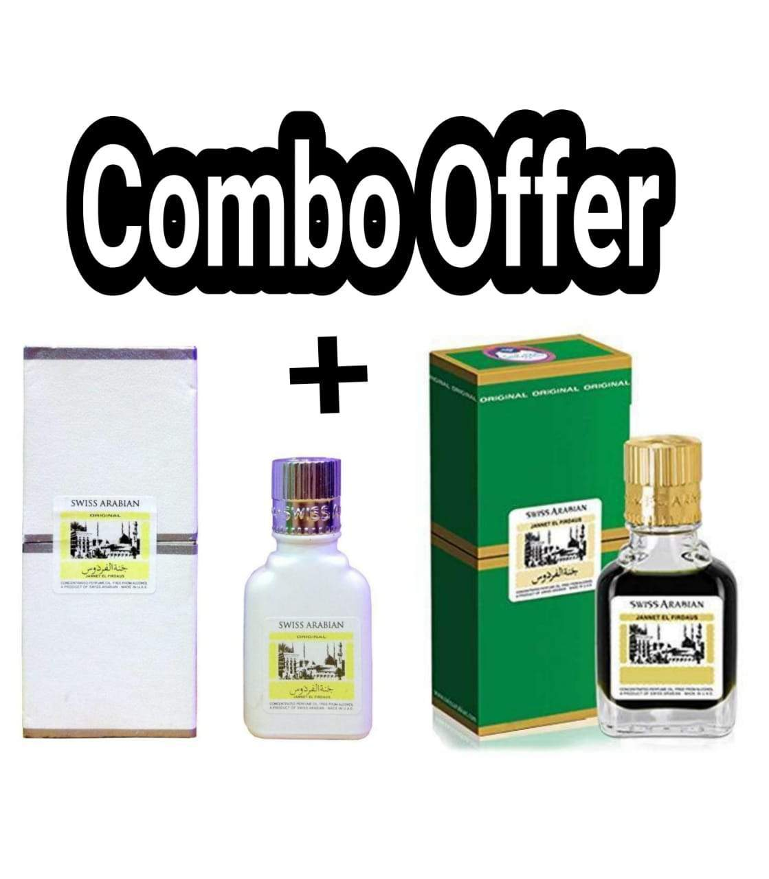 (COMBO) Jannatul Firdaus White & Green  Limited Edition Attar Original Swiss Arabian combo