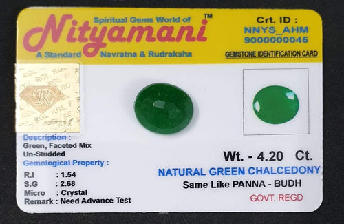 Natural Green Chalcedony Same Like Panna  Limited Exclusive Collection Gem Stone Govt. Regd. Crt id NNYS_AHM 9000000045