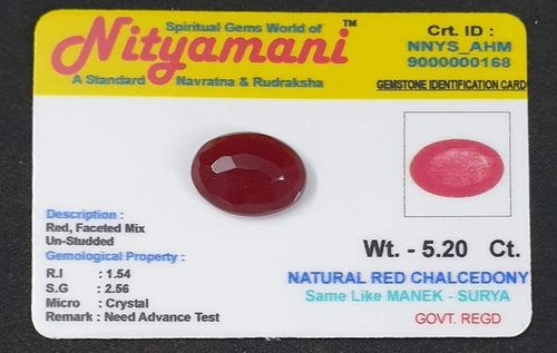 Natural Red Chalcedony Same Like Ruby  Limited Exclusive Collection Gem Stone Govt. Regd. Crt id NNYS_AHM 9000000168
