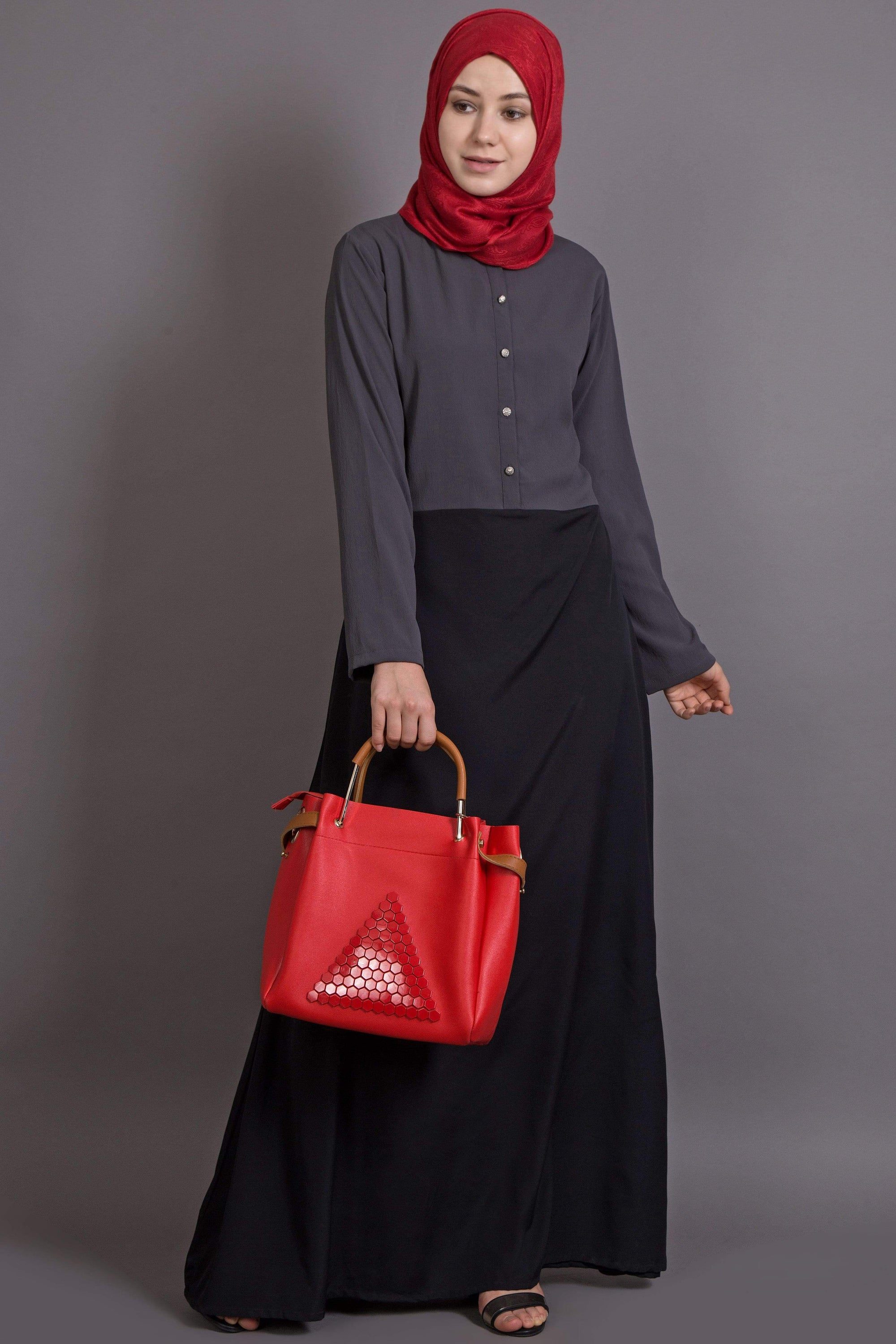 NAZNEEN contrast body daily wear Abaya