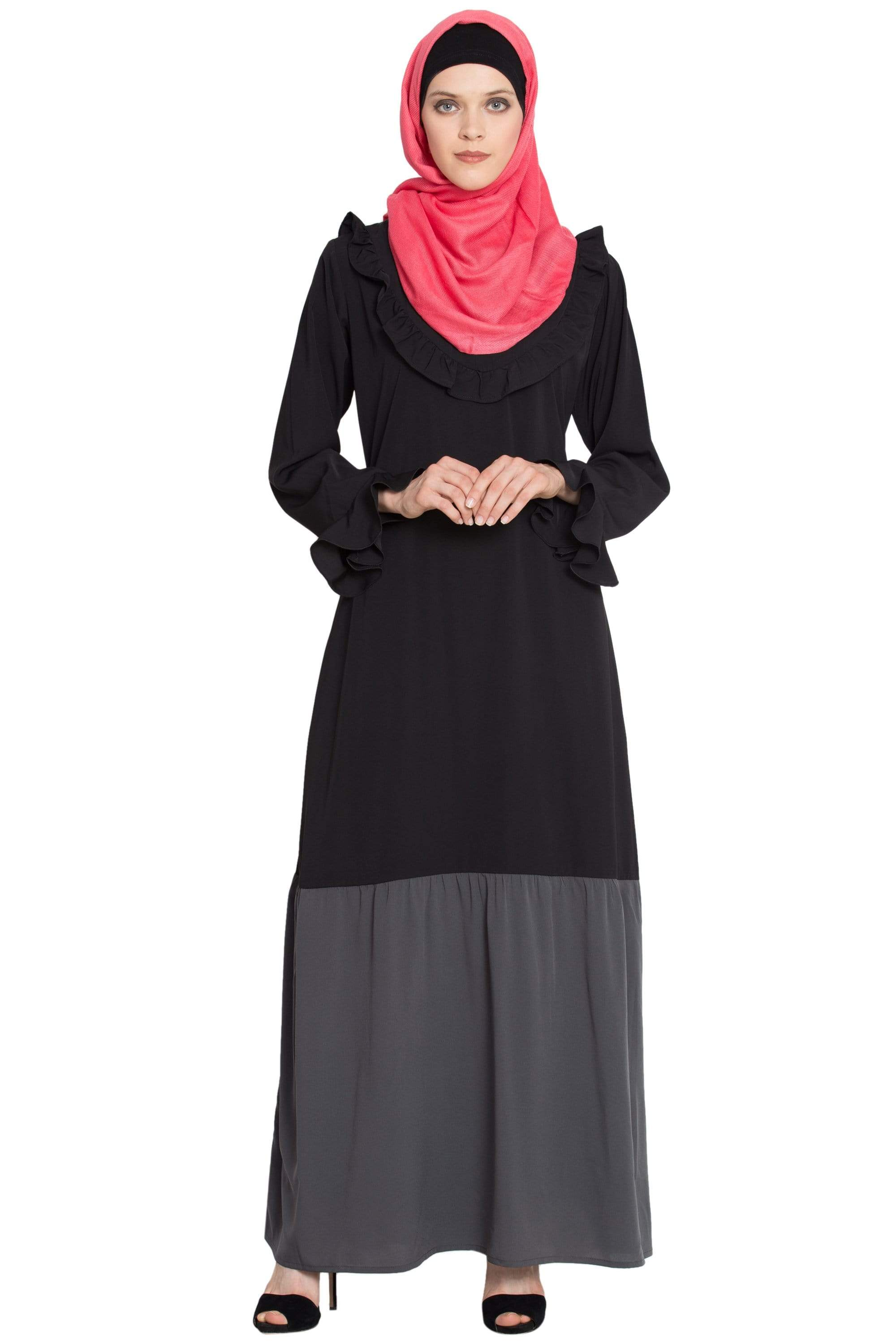 NAZNEEN Contrast bottom frilled casual Abaya