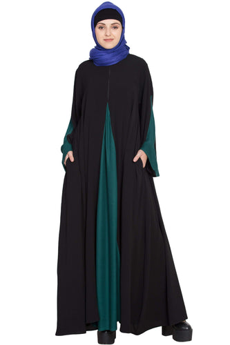 Nazneen Contrast Yoke at front, Back and Sleeve A line Abaya
