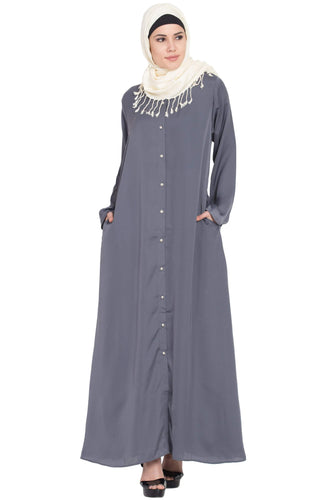 Nazneen Decorative Button Front Open Abaya