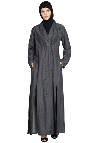 NAZNEEN  double breasted Front two Slit  Denim front open Jilbab Abaya
