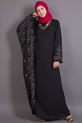 Nazneen embroidered Butterfly Sleeve  Party  Abaya