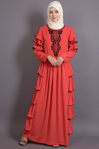 Nazneen Embroidered frill party Abaya