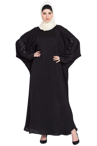 Nazneen embroidered patch butterfly Kaftan Abaya