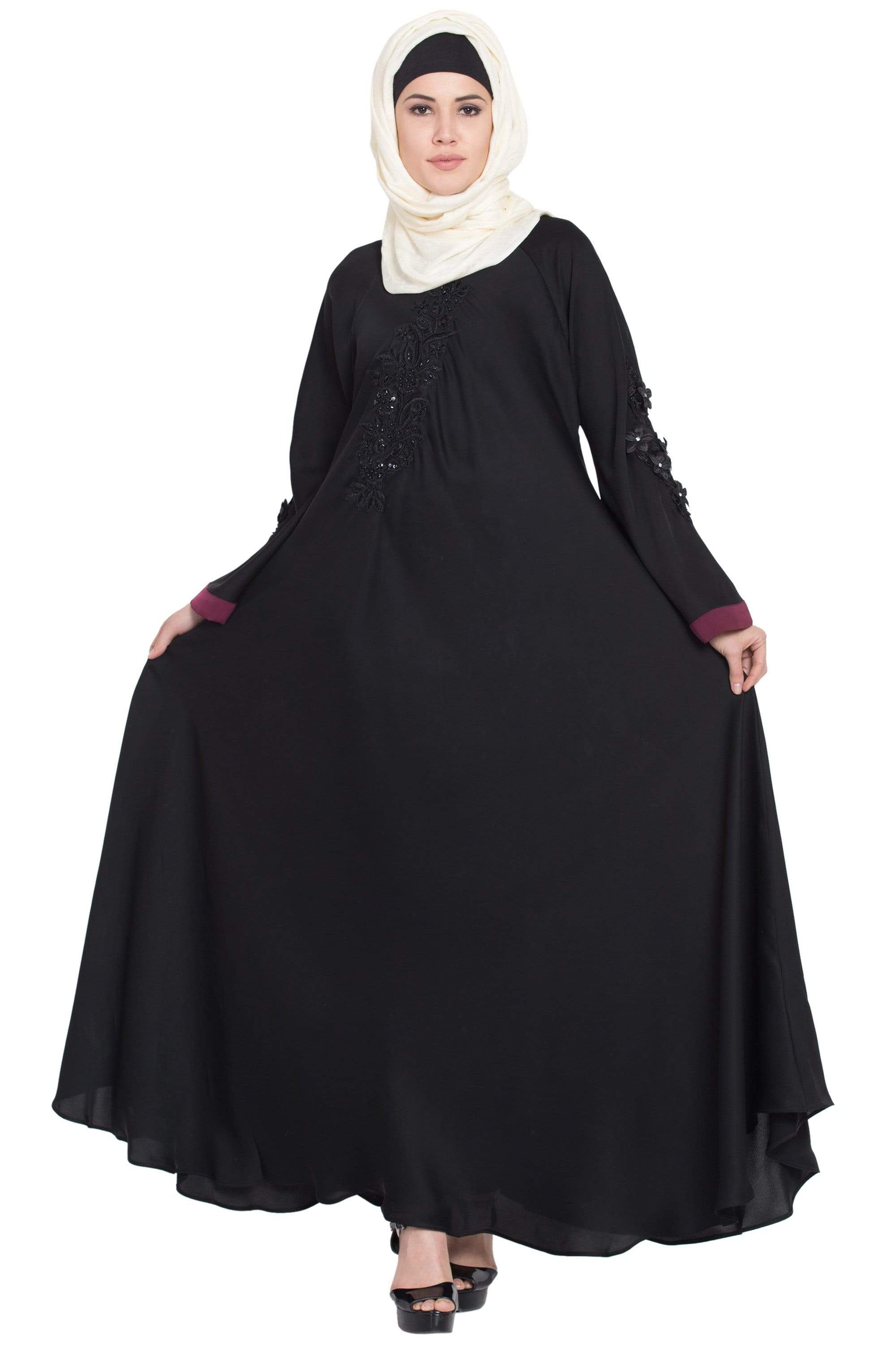 Nazneen Embroidered Patch Umbrella Black Abaya