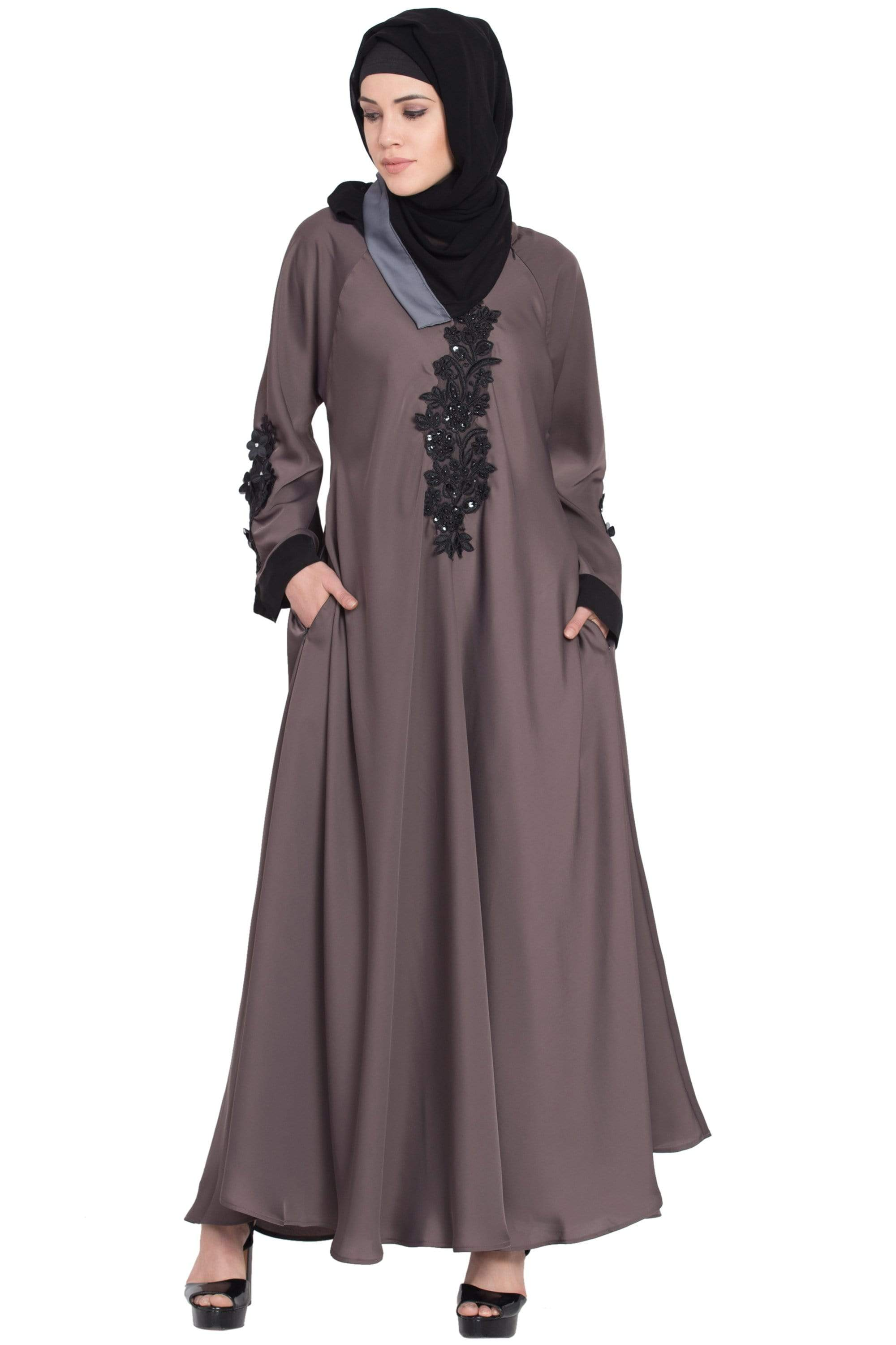 Nazneen Embroidered Patch Umbrella Coffee Brown Abaya