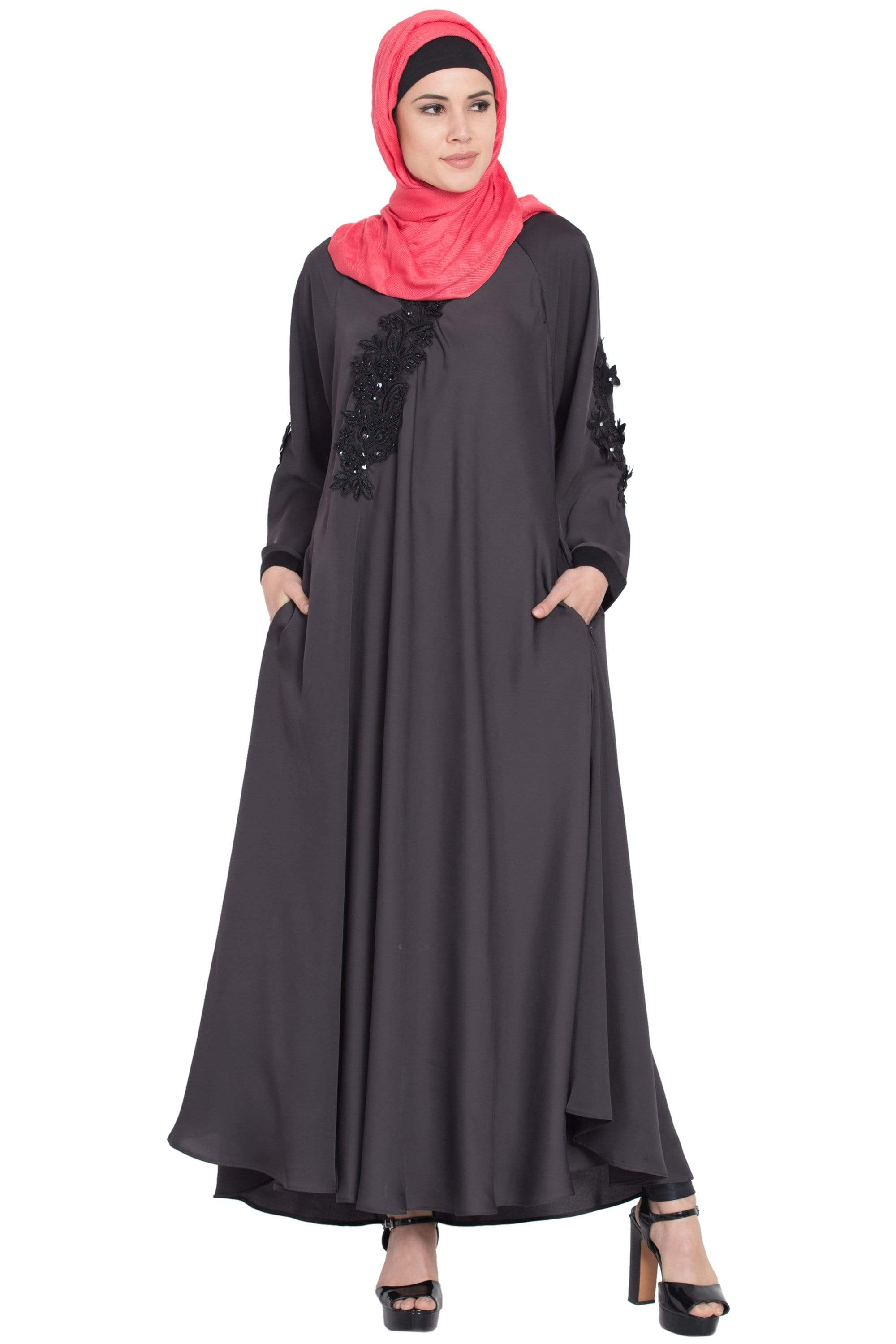 Nazneen Embroidered Patch Umbrella Grey Abaya