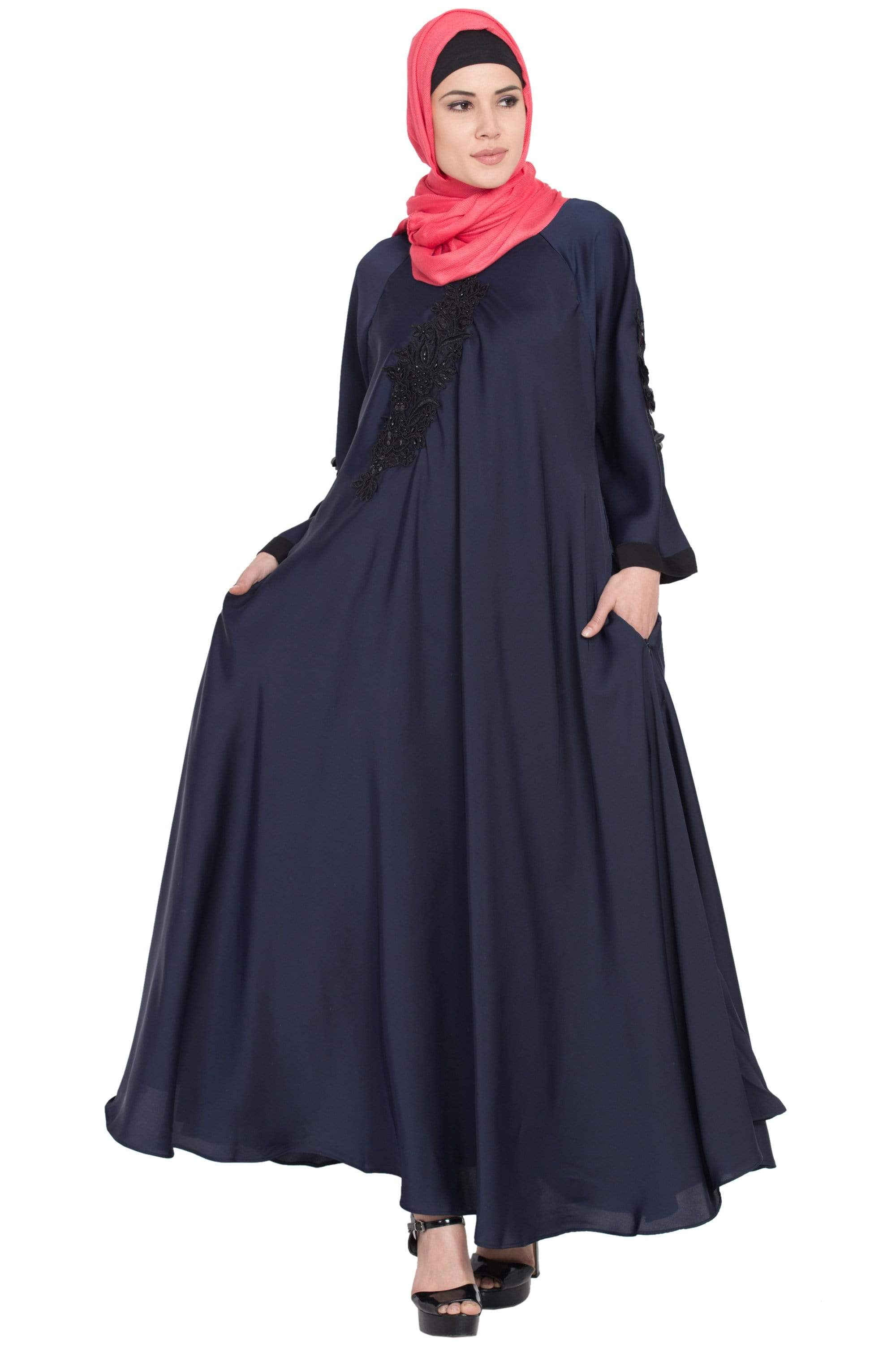 Nazneen Embroidered Patch Umbrella Navy Abaya
