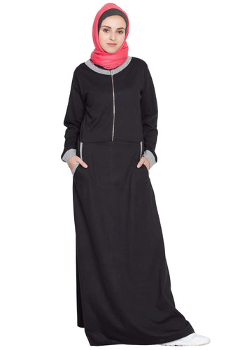 Nazneen Front closer contrast band, cuff Travel Abaya