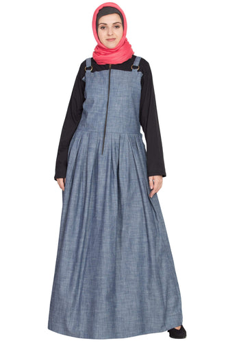 Nazneen Front open Contrast  jersey and chambray straps Abaya