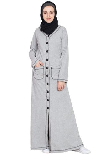 Nazneen Front open Contrast stitching Travel cardigan Abaya