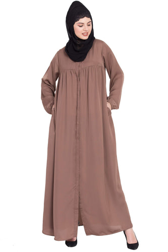 Nazneen Front Open gather at bust casual Abaya