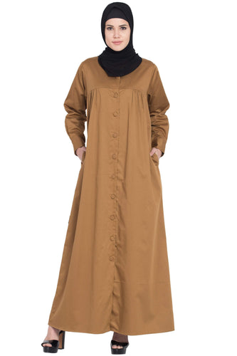 Nazneen front open gather at bust self button Abaya