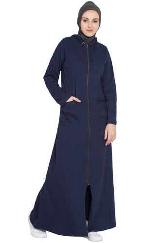Nazneen front open patch pocket, hood travel Abaya