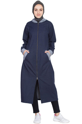 Nazneen Front open with hood Jersey Sports Abaya