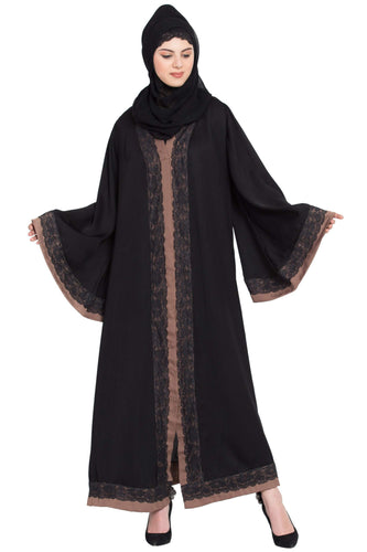 Nazneen Front open with lace and contrast band Dubai Kaftan Abaya