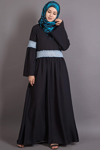 Nazneen Lace at waist and sleeve classic abaya