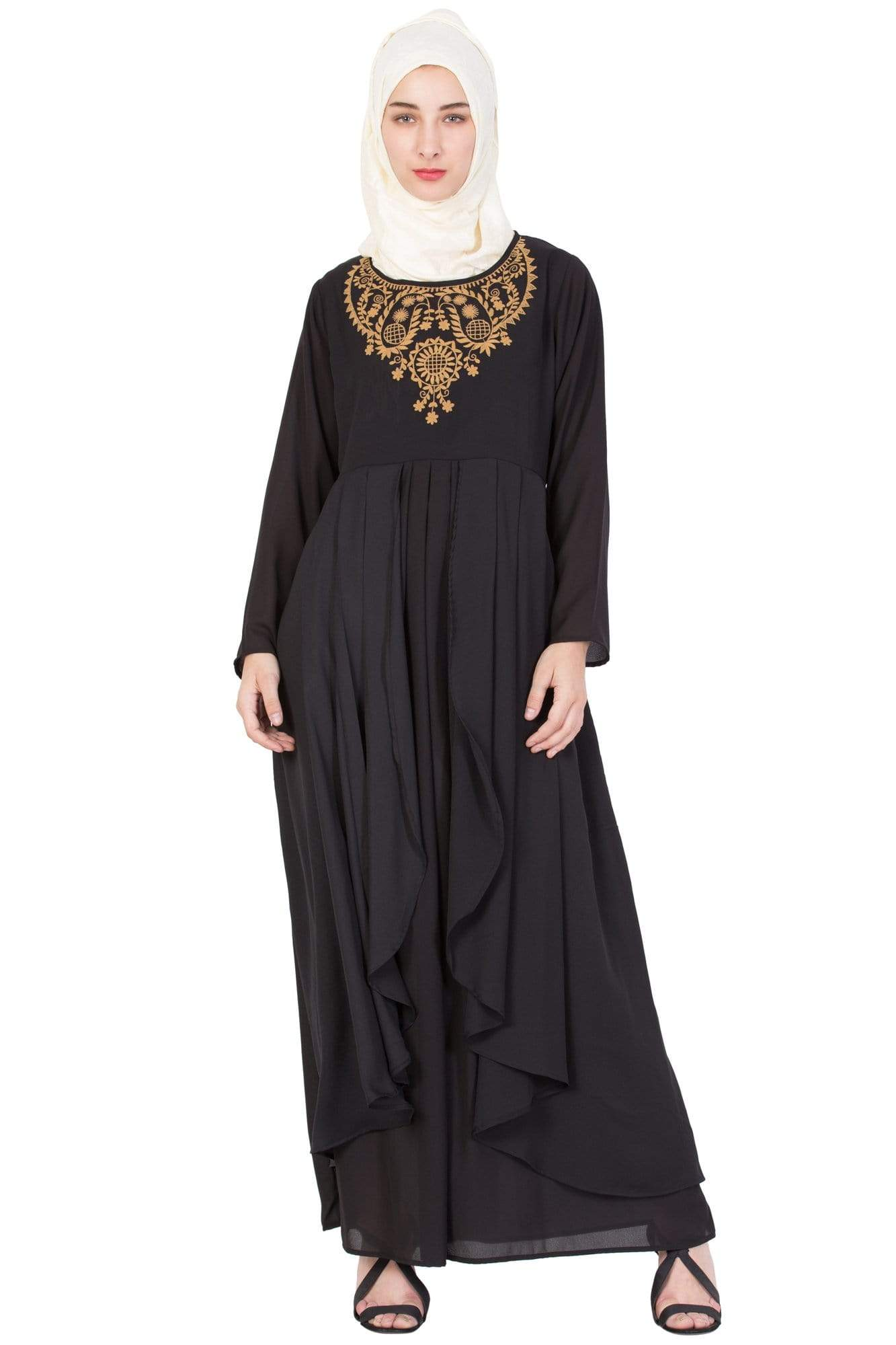 Nazneen Neck  Embroidered Part Abaya