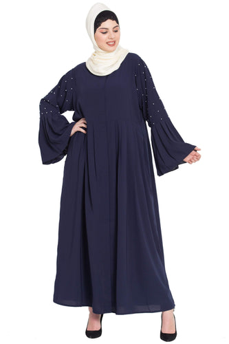 Nazneen  Pleated and pearls embroidered   Front open Abaya