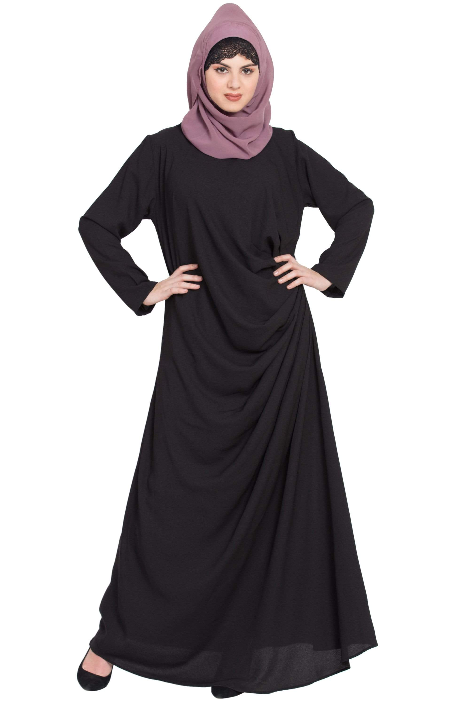 Nazneen Pleating at waist casual Abaya