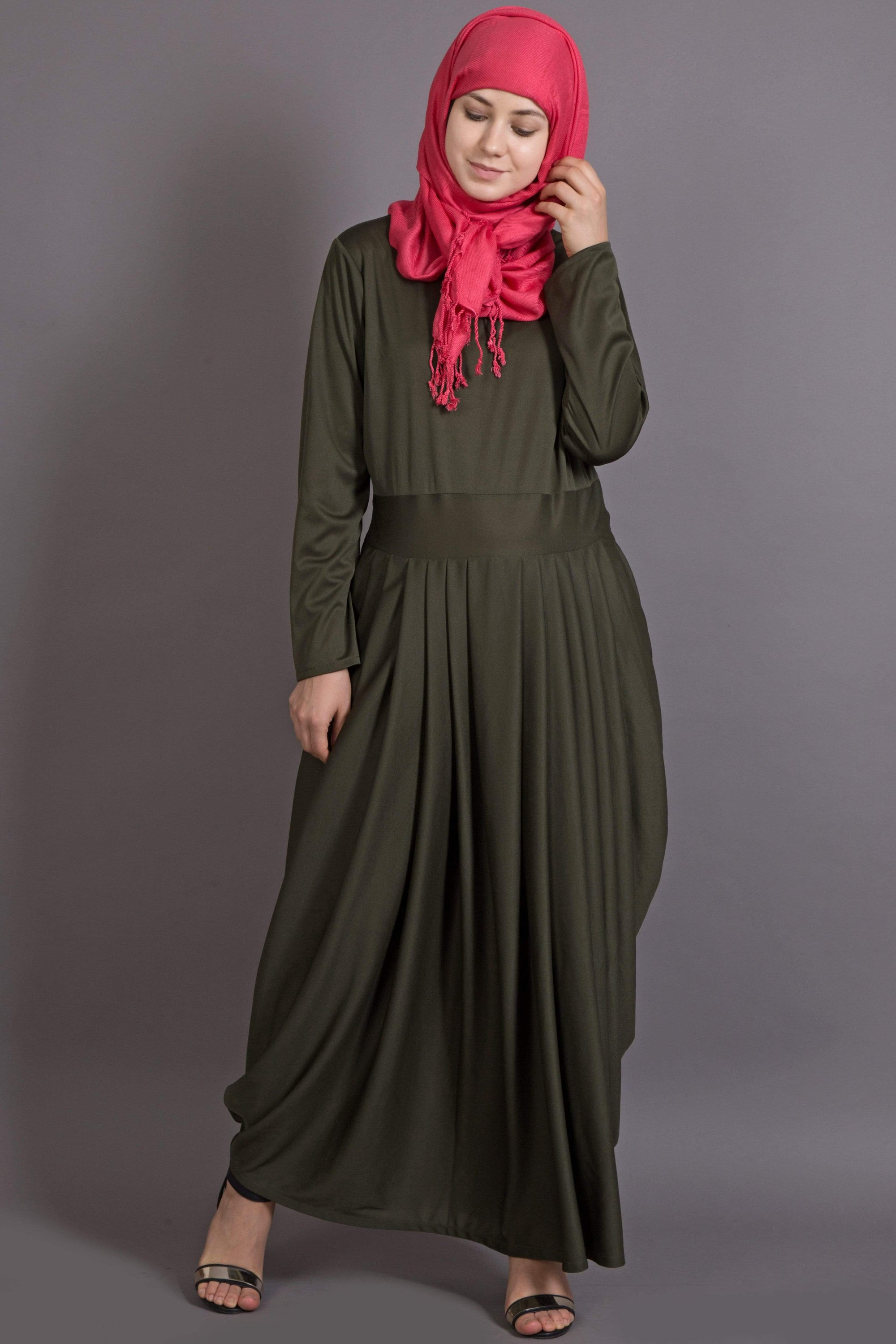 Nazneen pleating at waist stretchable knits travel abaya