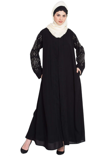 Nazneen Sleeve embroidered front open with Inner Abaya