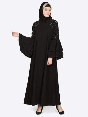 Nazneen three bell at sleeve hand work party Abaya
