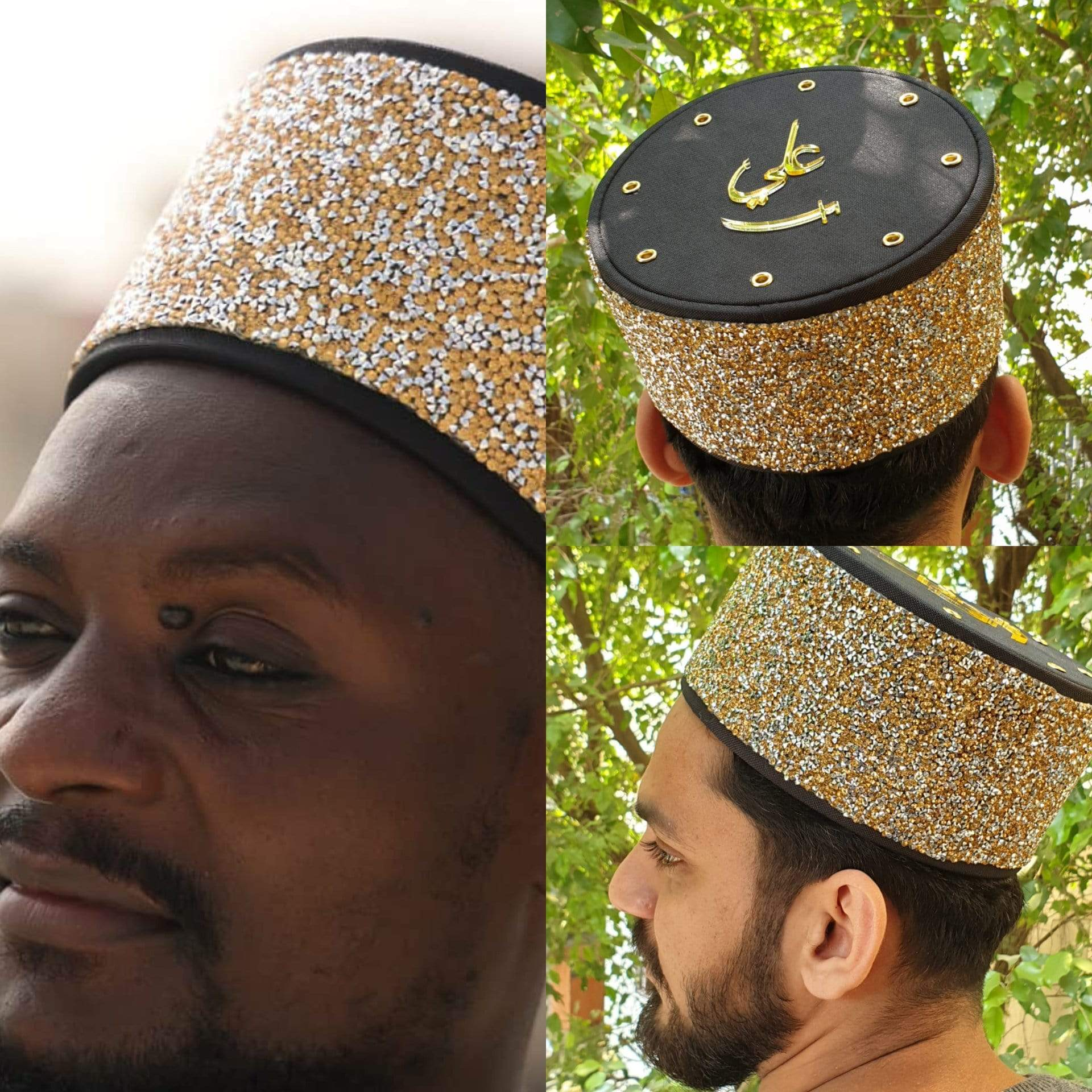 NEW 2020 Shabbir Barkati Topi Silver & Gold Glitter with Top Golden Ali  MODEL 2022 #AQCAP