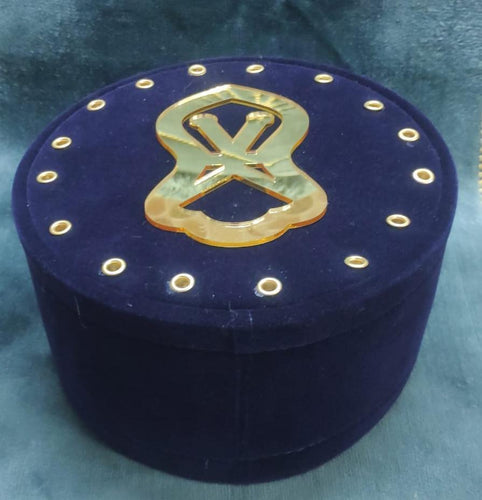 NEW ROYAL BLUE VELVET CAP WITH GOLDEN ACRELIC NALAIN