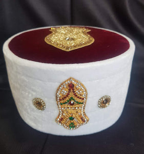 NEW WHITE QADRI BAGDADI LATEST MODEL CAP WITH ZARDOSHI HANDWORK NALAIN