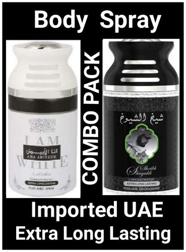 SHEIKH AL SHUYUKH Black +Ana Abiyedh I Am White Arabic Body Spray Big size 2 pcs. combo Imported Orignal Made in UAE