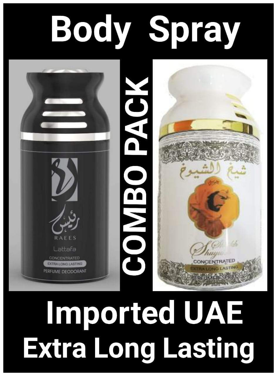 (COMBO) SHEIKH AL SHUYUKH White + RAEES Arabic Body Spray Big size 2 pcs. combo Imported Orignal Made in UAE
