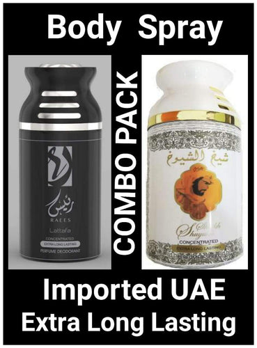 SHEIKH AL SHUYUKH White + RAEES Arabic Body Spray Big size 2 pcs. combo Imported Orignal Made in UAE