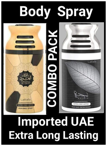 Urooq Al Oud+Najdia  Arabic Body Spray Big size 2 pcs. combo Imported Orignal Made in UAE