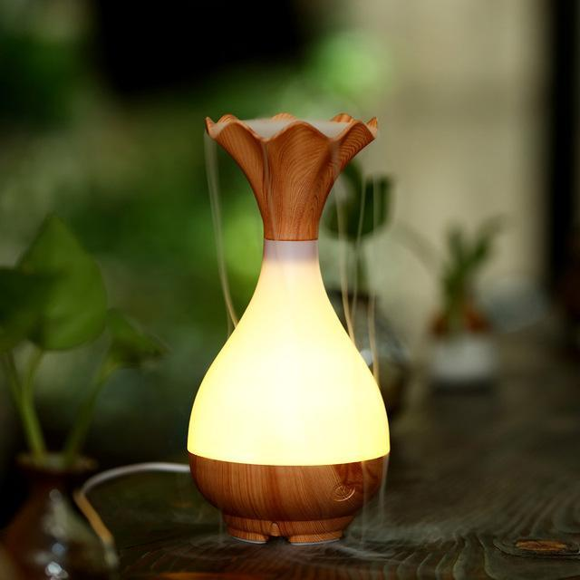 Wood Vase Jade Bottle Led Humidifier Aroma Essential Oil Diffuser-Adilqadri