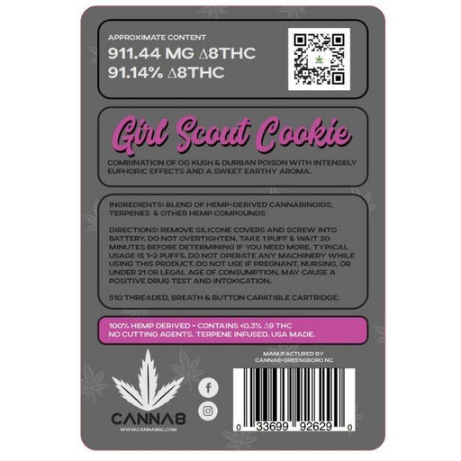 CBD Girl Scout Cookie Hybrid Delta 8 Vape Cartridges by Canna8